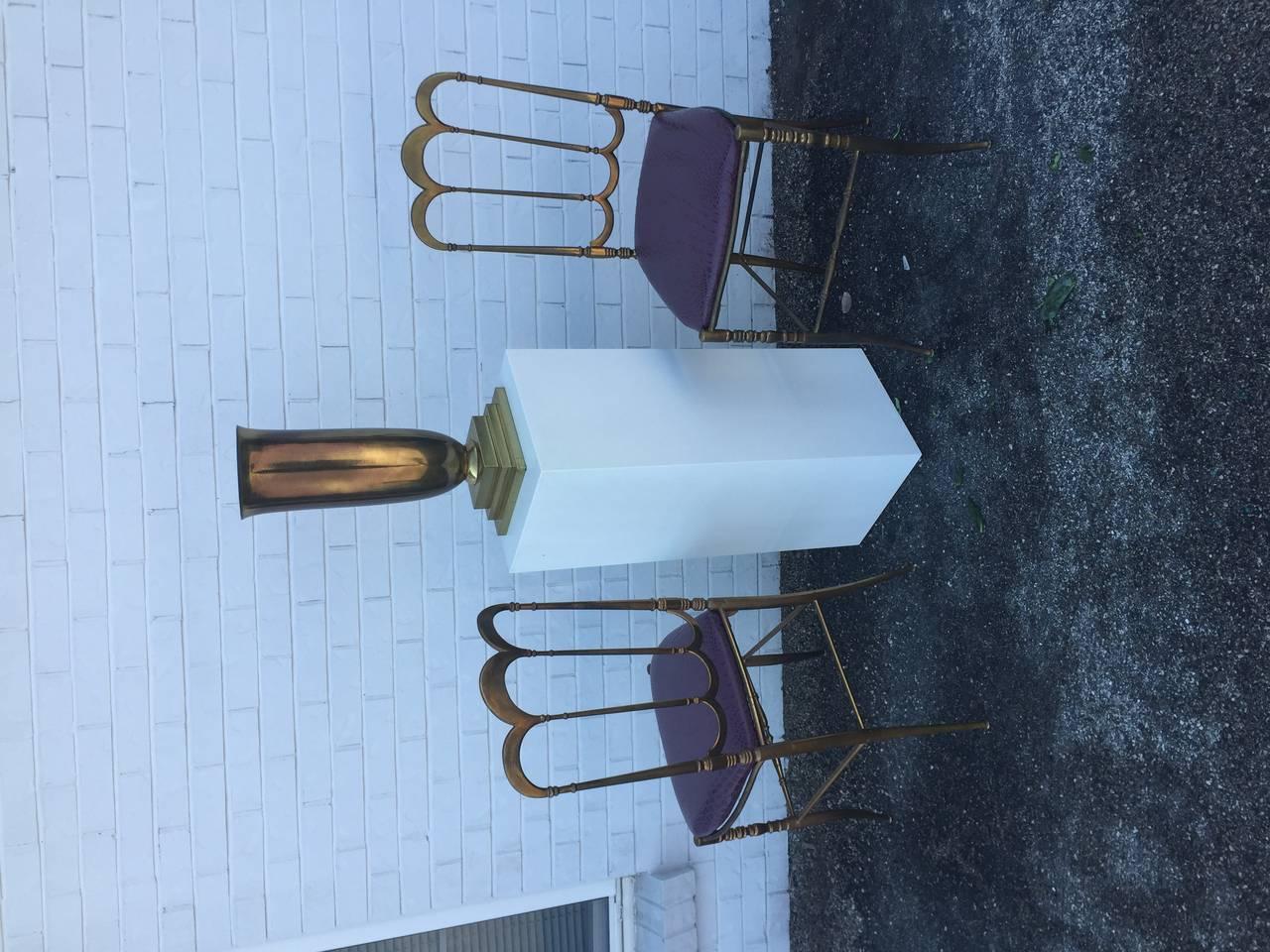 Brass Italian Chiavari Chair with Aubergine Crocodile Leather For Sale 2