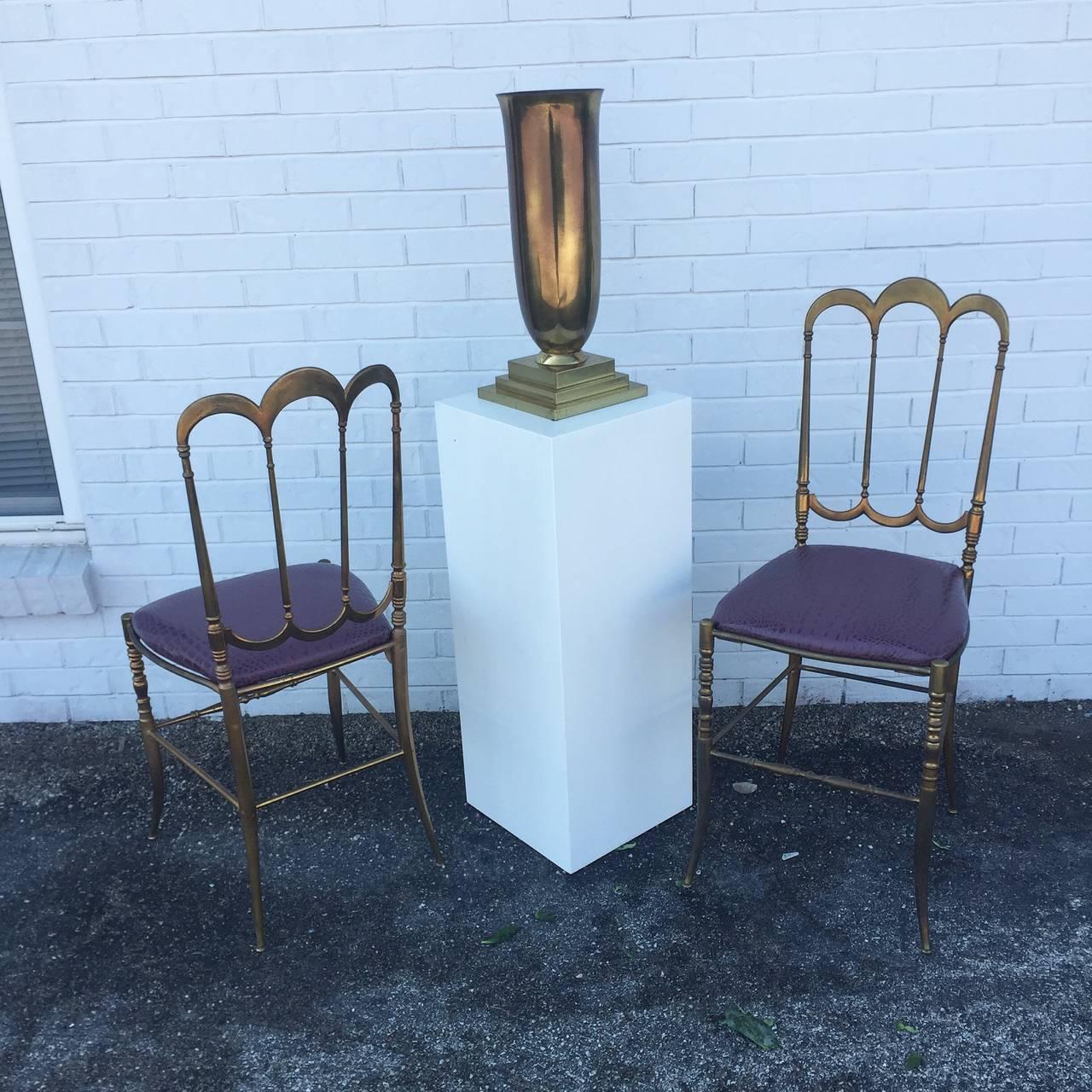 Hollywood Regency Brass Italian Chiavari Chair with Aubergine Crocodile Leather For Sale