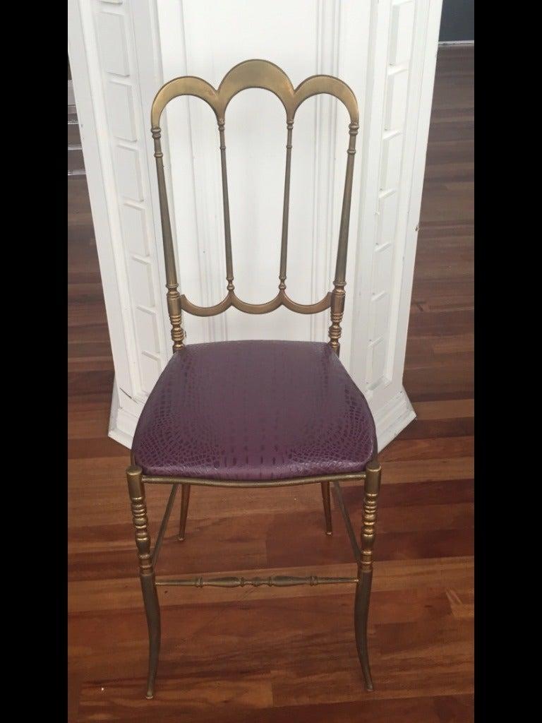 Mid-20th Century Brass Italian Chiavari Chair with Aubergine Crocodile Leather For Sale