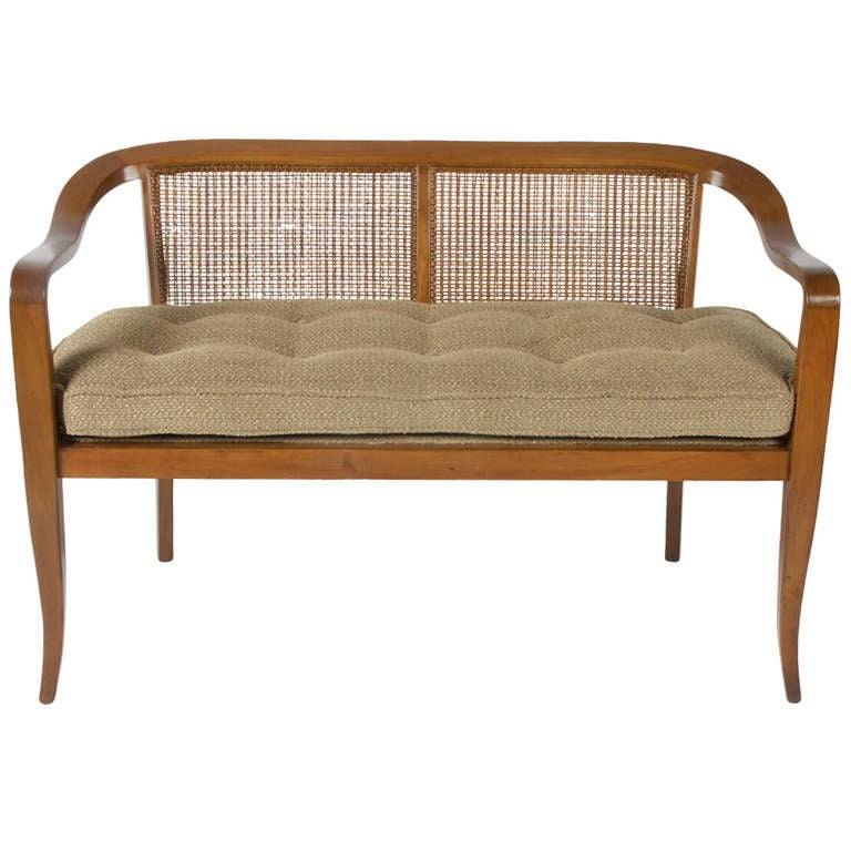 Midcentury Cane Back Settee At 1stdibs