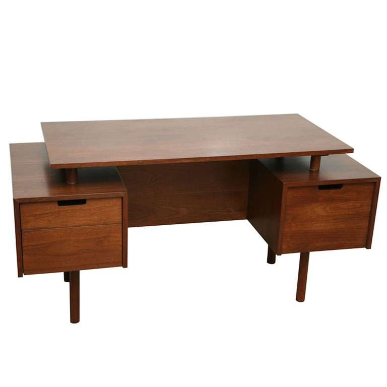 Milo baughman floating top desk at 1stdibs - Orange floating desk ...