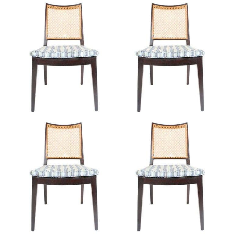 Set of Four Edward Wormley for Dunbar Cane Back Side Chairs For Sale