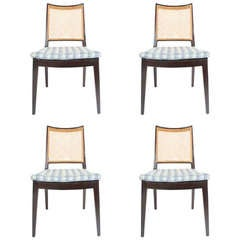 Set of Four Edward Wormley for Dunbar Cane Back Side Chairs