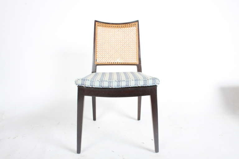 Mahogany side chairs with cane backs by Edward Wormley for Dunbar, label.