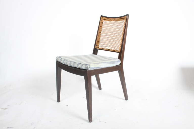 Mid-Century Modern Set of Four Edward Wormley for Dunbar Cane Back Side Chairs For Sale