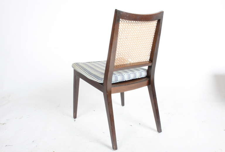 Set of Four Edward Wormley for Dunbar Cane Back Side Chairs For Sale 1