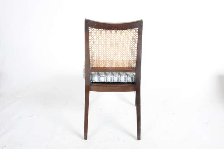 Set of Four Edward Wormley for Dunbar Cane Back Side Chairs In Good Condition For Sale In St. Louis, MO