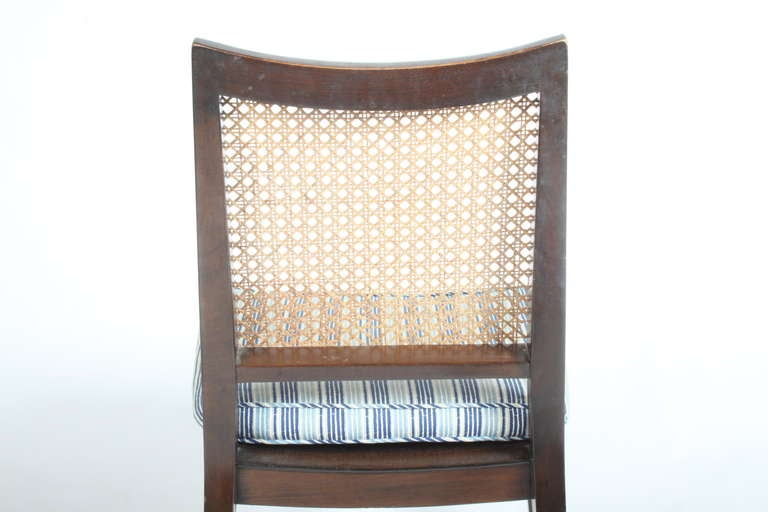 Mid-20th Century Set of Four Edward Wormley for Dunbar Cane Back Side Chairs For Sale