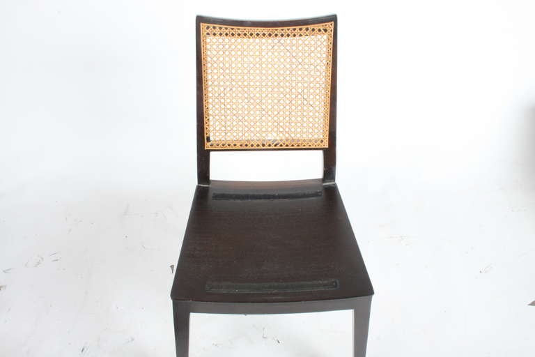Set of Four Edward Wormley for Dunbar Cane Back Side Chairs For Sale 2