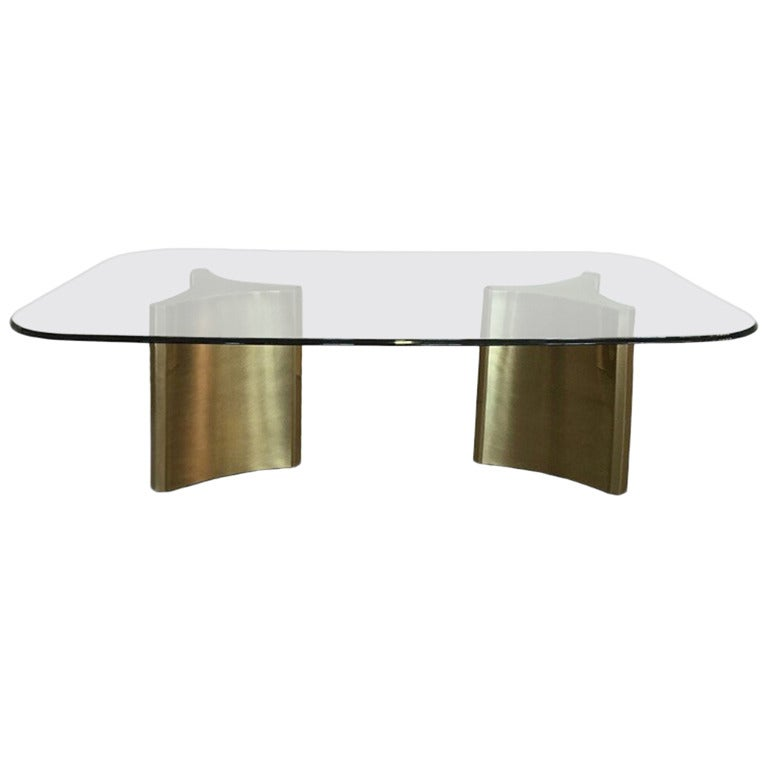 Mastercraft Double Pedestal Dining Table with Glass Top at  : 2552842 1 from www.1stdibs.com size 768 x 768 jpeg 19kB