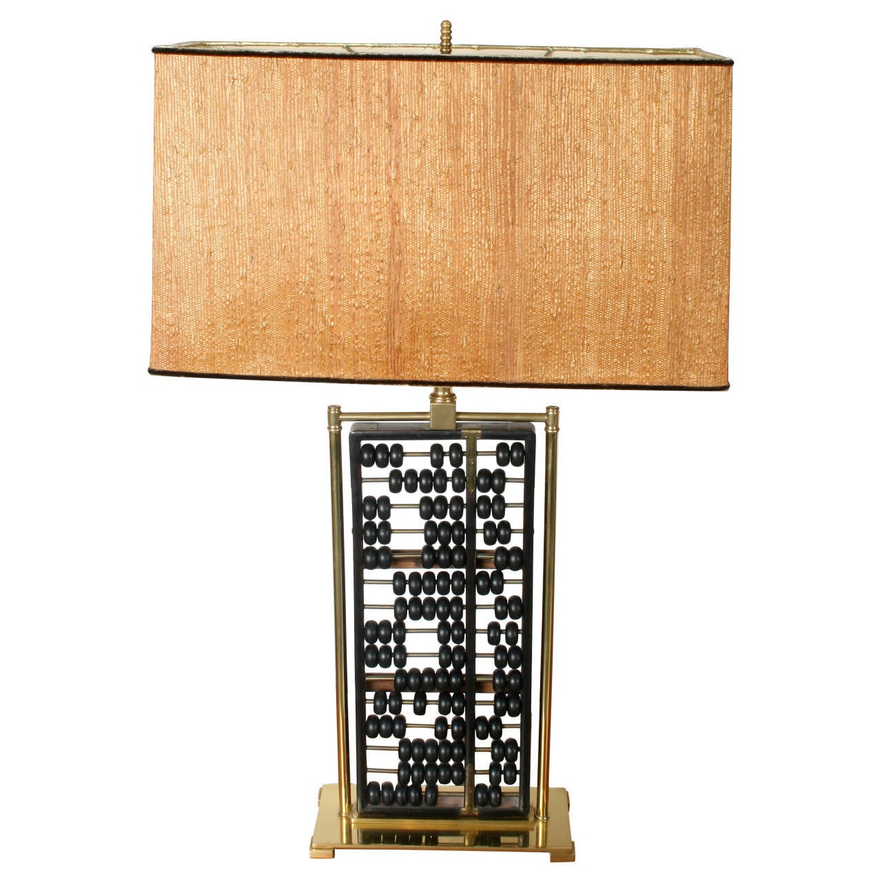 Vintage Mid Century Chinese Abacus Lamp With Brass Frame