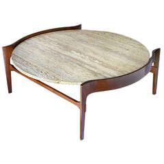 Bertha Schaefer Travertine and Walnut Coffee Table