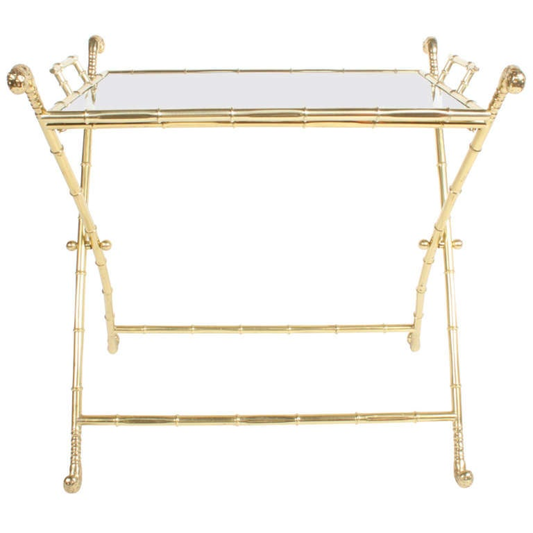 Italian Brass Bar or Cocktail Tray Table 1