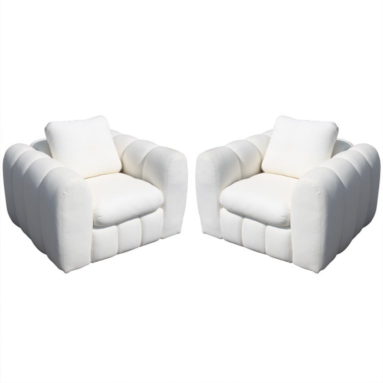 Pair Of Channeled Jay Spectre Club Chairs For Century Furniture - Club chairs furniture