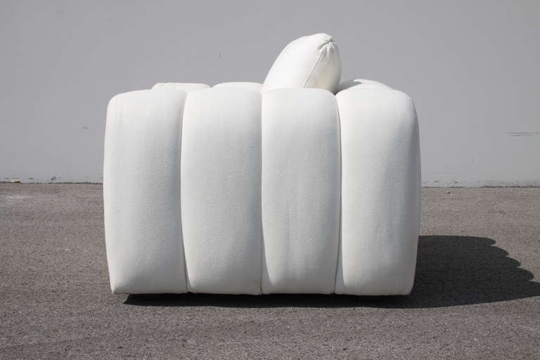 Modern Channeled Jay Spectre White Club Chairs for Century Furniture, circa 1970s, Pair For Sale