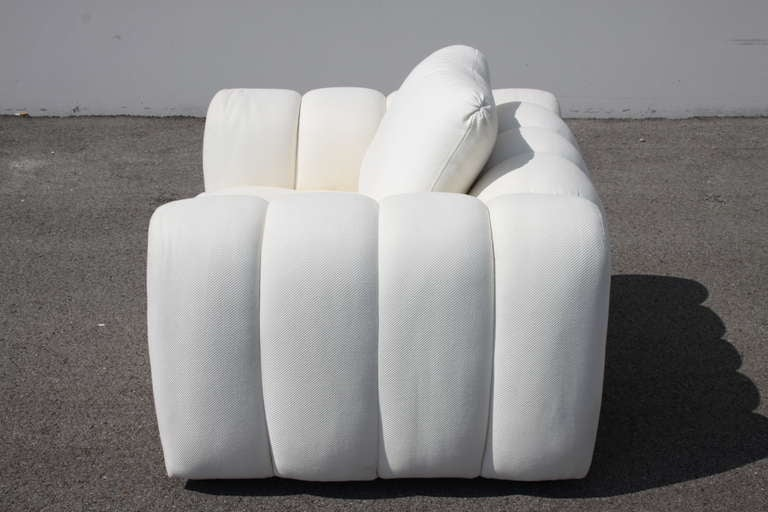 American Channeled Jay Spectre White Club Chairs for Century Furniture, circa 1970s, Pair For Sale