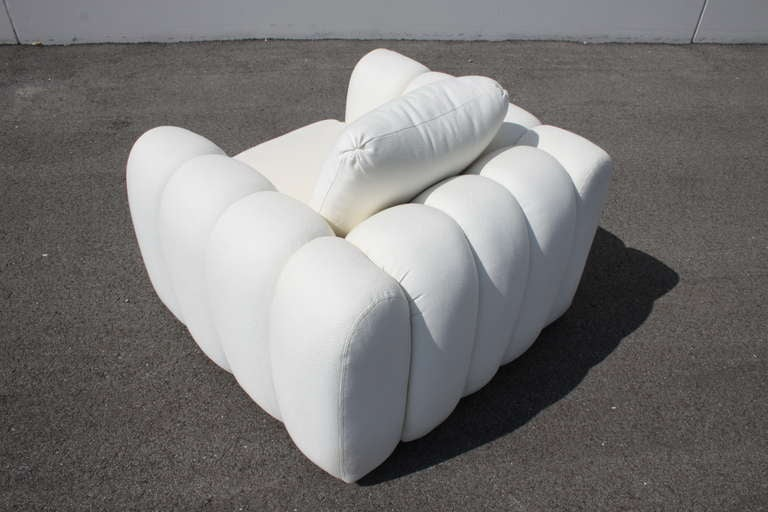 Late 20th Century Channeled Jay Spectre White Club Chairs for Century Furniture, circa 1970s, Pair For Sale