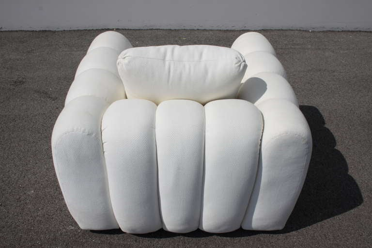 Upholstery Channeled Jay Spectre White Club Chairs for Century Furniture, circa 1970s, Pair For Sale