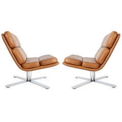 Pair of John Follis Leather Solo Chairs for Fortress