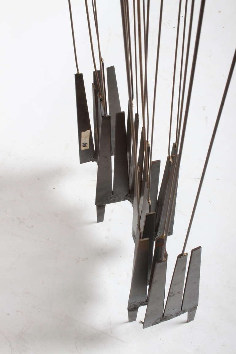 Metal Kinetic Mid-Century Floor Sculpture by New York Artist William Bowie For Sale