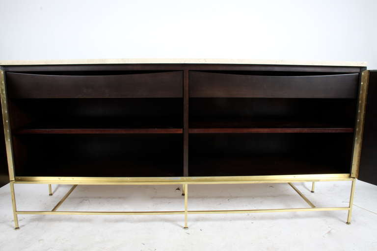 Mid-20th Century Paul McCobb Travertine Top Sideboard For Sale