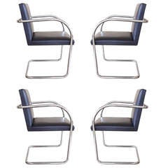 Set of Four Knoll Tubular Brno Chairs by Mies Van Der Rohe