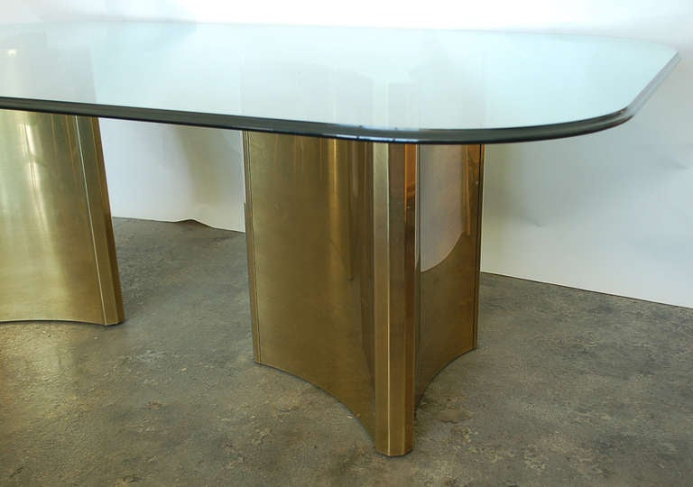 Mastercraft Double Pedestal Brass And Glass Dining Table At 1stdibs
