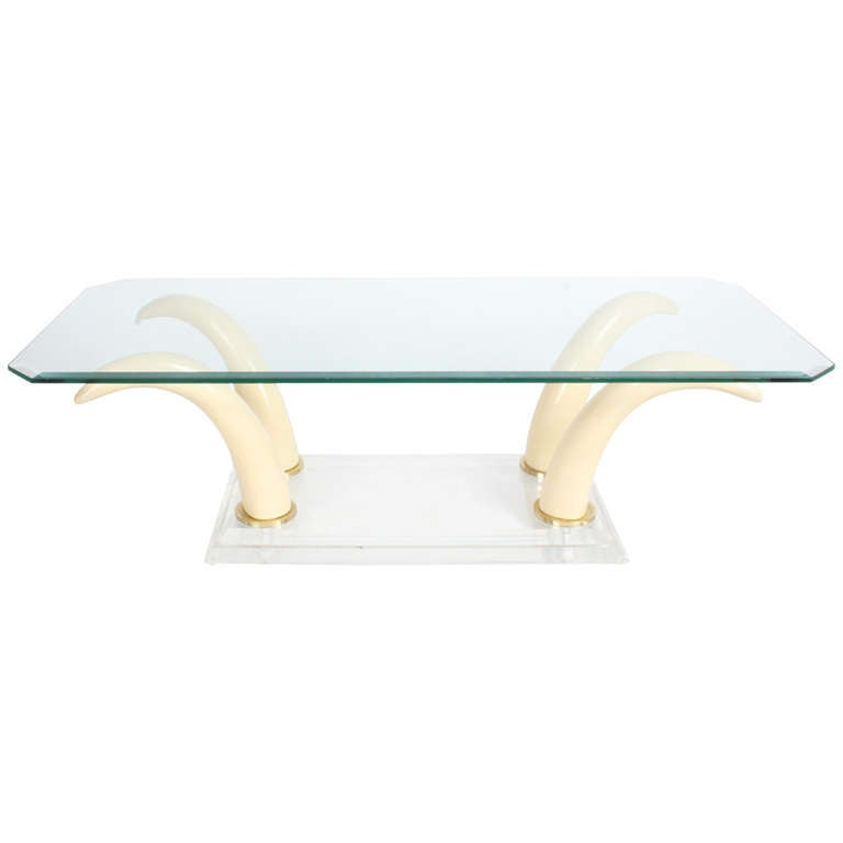 Faux Tusk Cocktail Table with Lucite Base and Glass Top For Sale