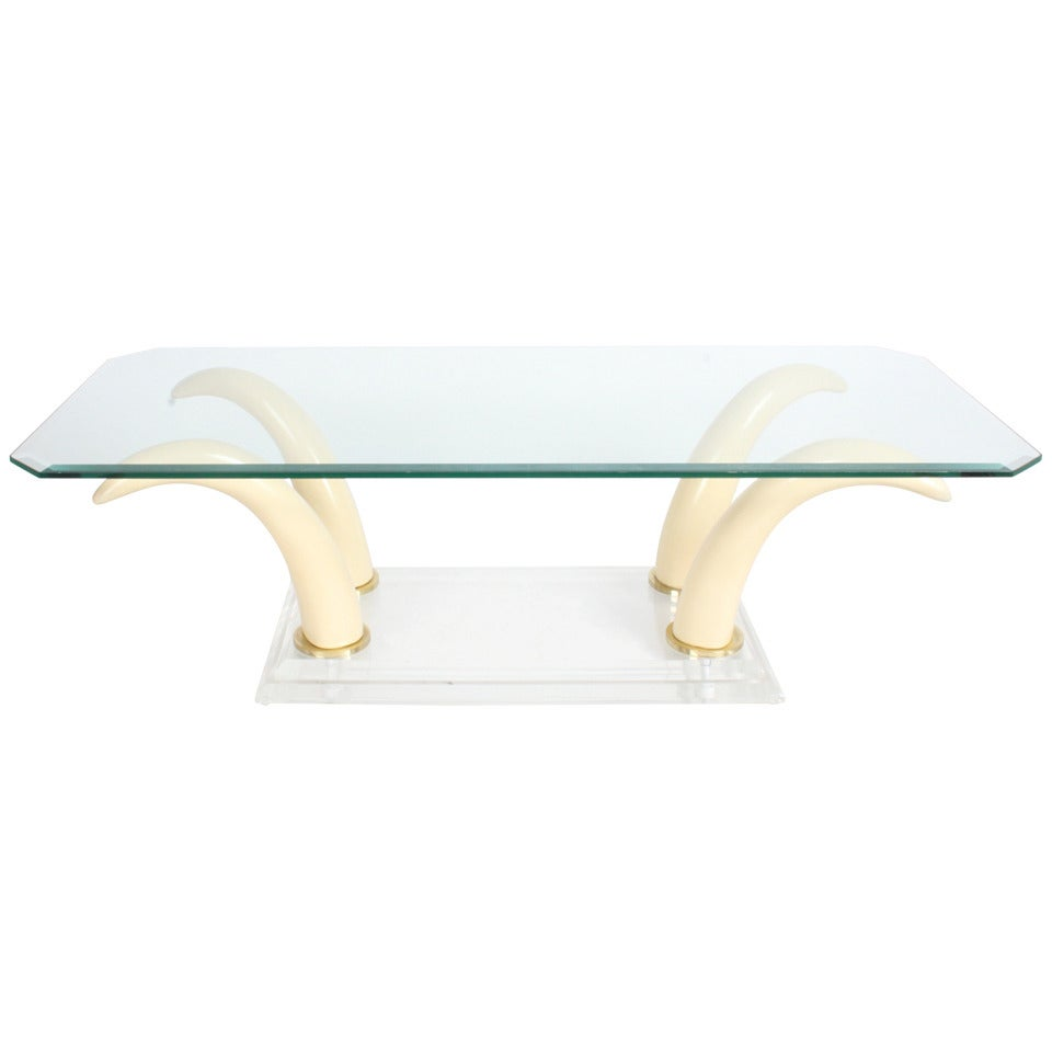 Faux Tusk Cocktail Table with Lucite Base and Glass Top