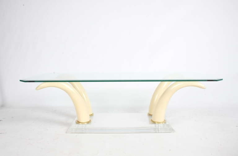Mid-Century Modern Faux Tusk Cocktail Table with Lucite Base and Glass Top For Sale