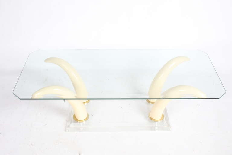 Tusk Cocktail Table with Lucite Base and Glass Top 4