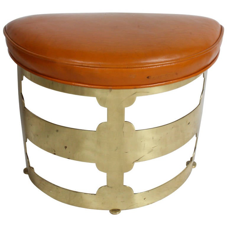 Sculptural Brass Base Stool Attributed to Grosfeld House For Sale