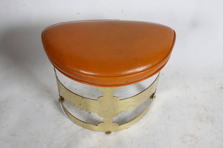 Mid-Century Modern Sculptural Brass Base Stool Attributed to Grosfeld House For Sale