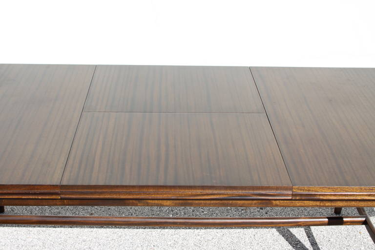 Mid-20th Century Mid-Century Mahogany Dining Table with Extension Leaf For Sale