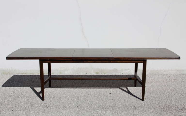 American Mid-Century Mahogany Dining Table with Extension Leaf For Sale