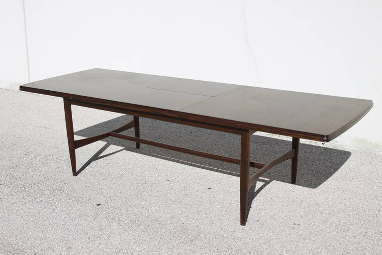 midcentury mahogany dining table with extension leaf at