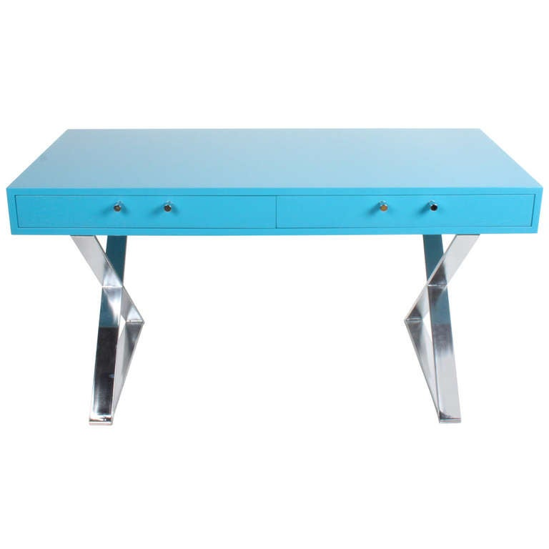 Milo Baughman Blue Lacquer Desk With Chrome X Base