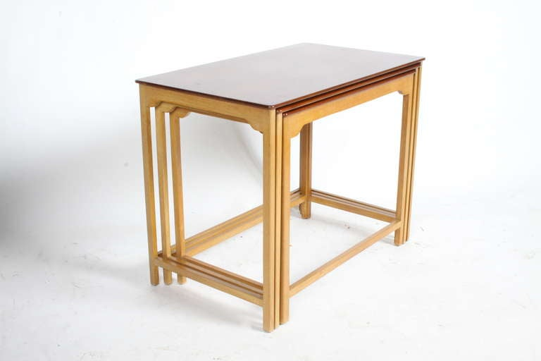 Mid-Century Modern Edward Wormley for Dunbar Nesting Tables For Sale