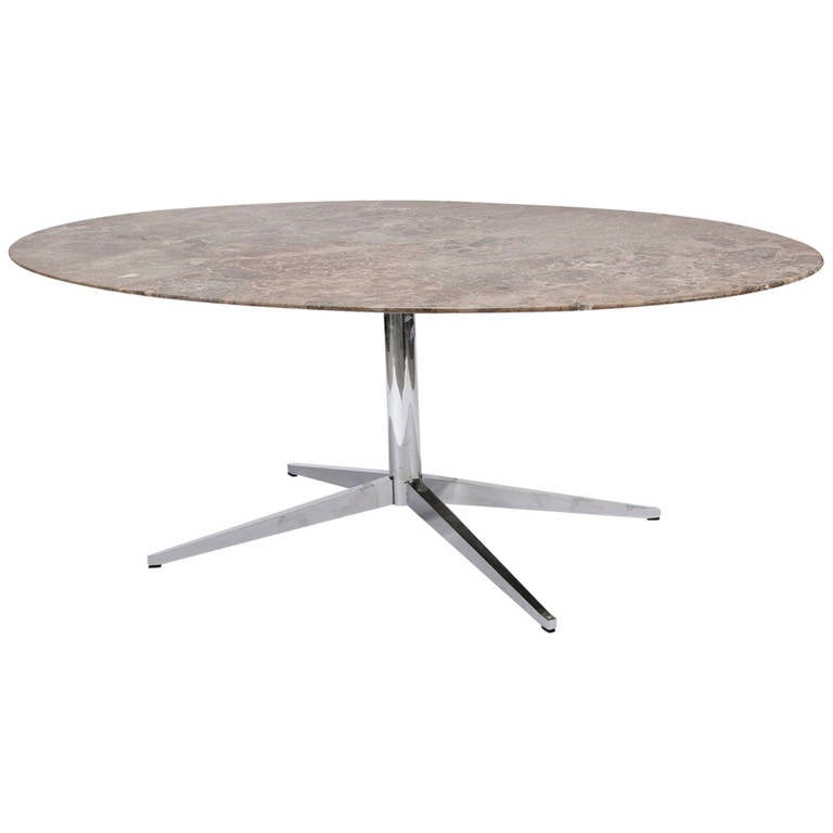 Florence Knoll Marble Top Oval Dining Table 1