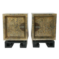 Pair of James Mont Silver and Gilt Lacquer Nightstands with Greek Key Bases