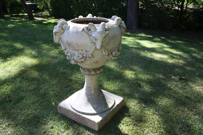 1920s Large-Scale Terra Cotta Garden Planter with Rams' Heads For Sale 2