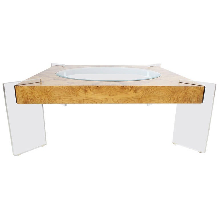 Vladimir Kagan Burled Wood And Lucite Cocktail Table At