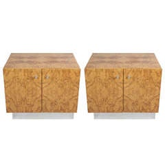 Pair of burl wood a Milo Baughman cabinets