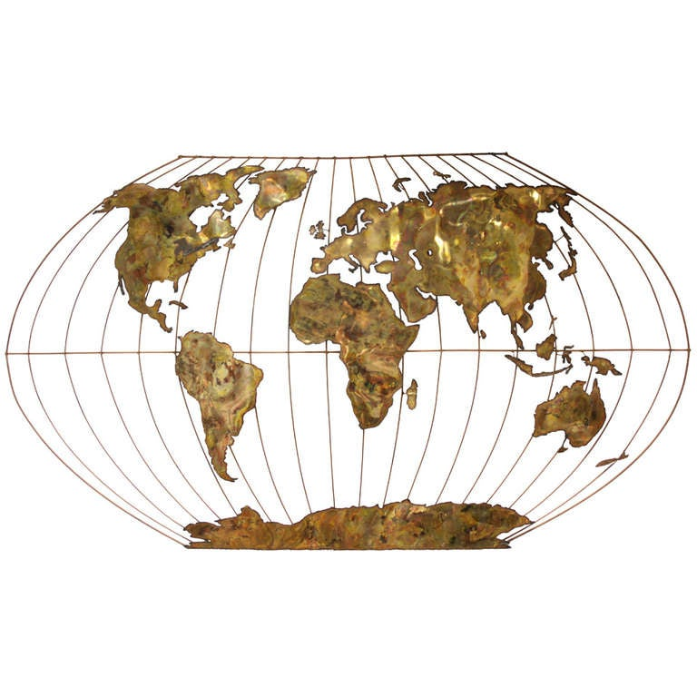 Massive World Globe Curtis Jere Style Wall Sculpture At