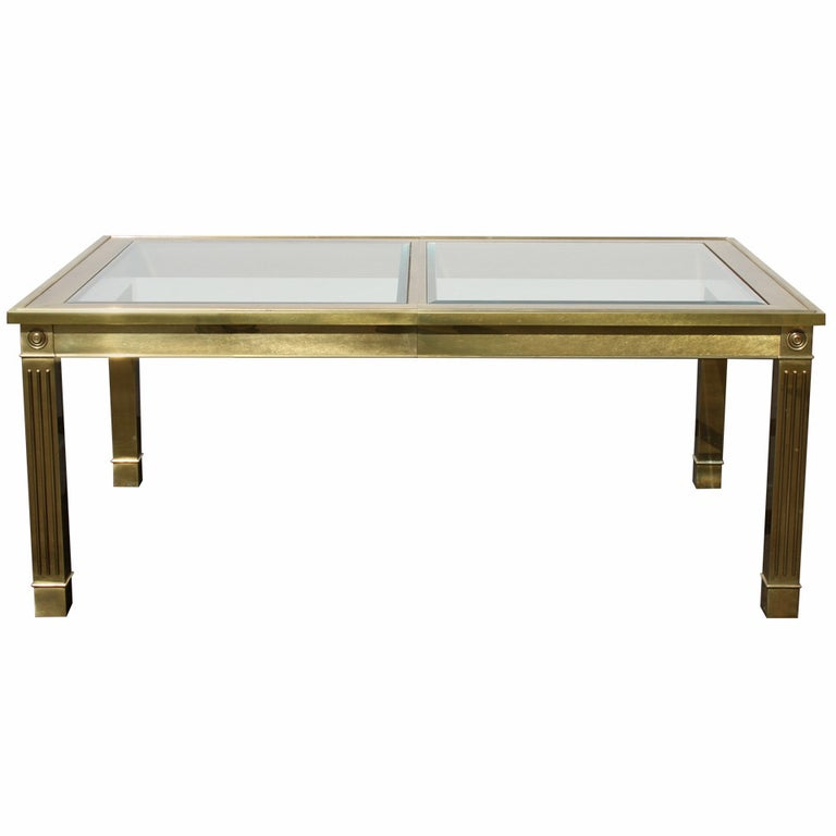 Mastercraft Brass Dining Table with Glass Inserts For Sale