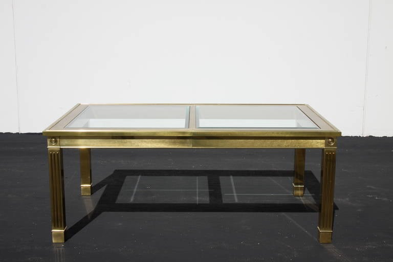 Mastercraft brass dining table with glass inserts for sale for Dining table with leaf insert