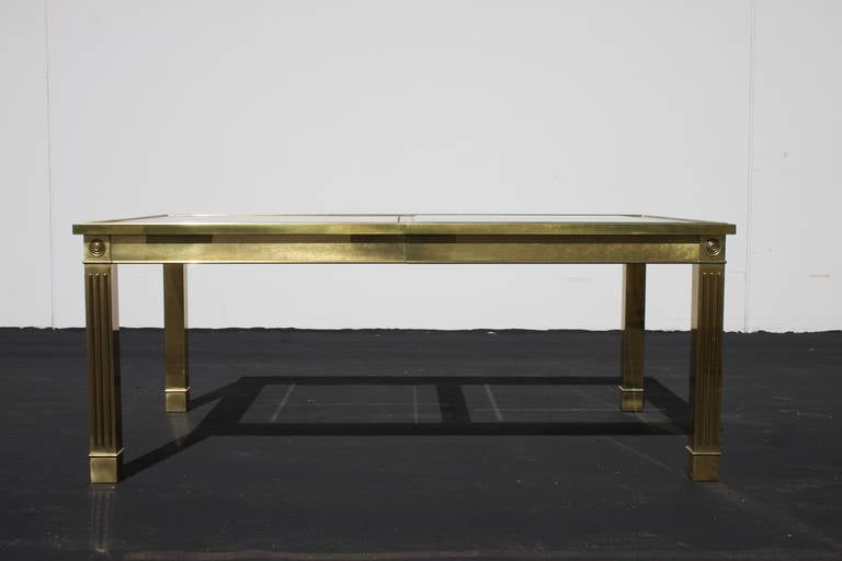 Mid-Century Modern Mastercraft Brass Dining Table with Glass Inserts For Sale
