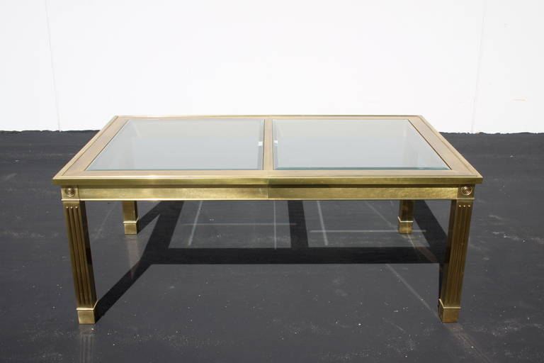 American Mastercraft Brass Dining Table with Glass Inserts For Sale