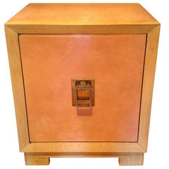 Parzinger Style Pink Leather Diamond Quilted Leather Door Cabinet