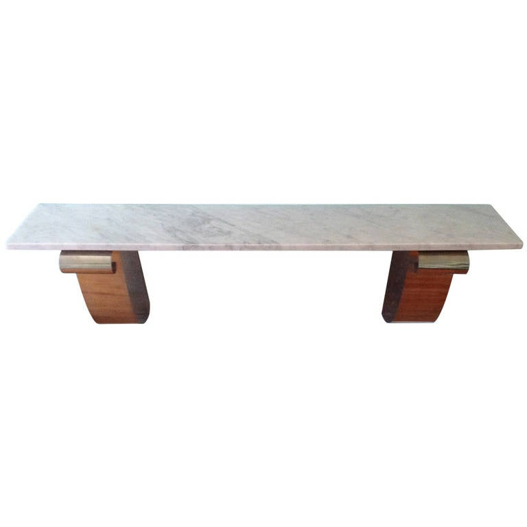 Art Deco, Double Nickel Scroll Console with Marble Top